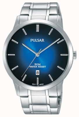 Pulsar Herren Silber Stahl Armband blau Abstufung Zifferblatt PS9527X1