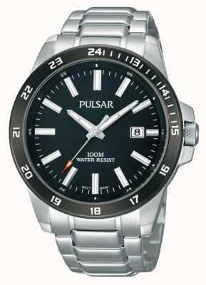 Pulsar Herren Edelstahl Armband schwarzes Zifferblatt PS9223X1