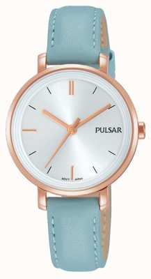 Pulsar Womans Pastellblau Lederband Silber Zifferblatt PH8344X1