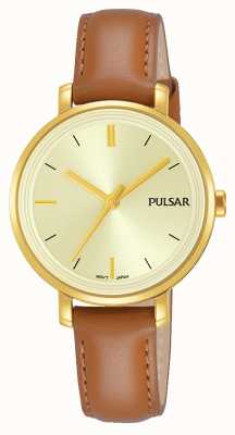 Pulsar Womans tan Lederband Champagner Zifferblatt PH8364X1