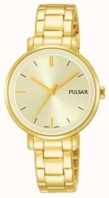 Pulsar Womans vergoldet Edelstahl Armband Champagner Zifferblatt PH8360X1