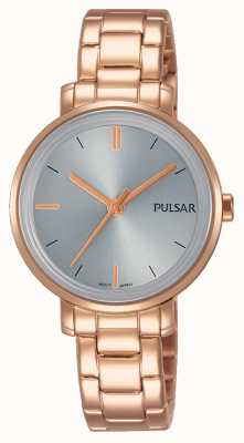 Pulsar Womans Roségold Edelstahl Armband graues Zifferblatt PH8362X1