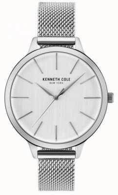 Kenneth Cole Womans Silber Zifferblatt Silber Edelstahl Mesh Armband KC15056009