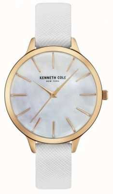 Kenneth Cole Womans weißes Leder aus Gürtel Perlmutt Zifferblatt KC15056001