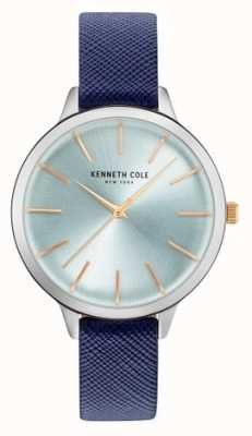 Kenneth Cole Womans blaues Leder aus Riemen Perlmutt Zifferblatt KC15056003