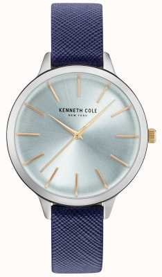 Kenneth Cole Womans blaues Leder aus Riemen Perlmutt Zifferblatt KC15056003