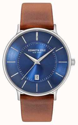 Kenneth Cole Mens dunkelblau Datumsziffer braunes Lederband KC15097001