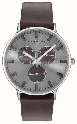 Kenneth Cole Herren Multifunktions-Lichtgrau-Zifferblatt dunkelbraunes Lederband KC14946001
