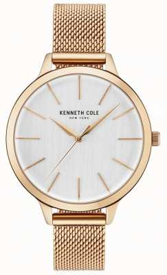 Kenneth Cole Womans weißes Zifferblatt Roségold Mesh Armband KC15056014