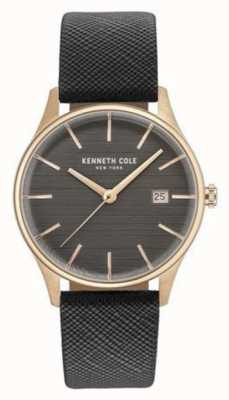 Kenneth Cole Womans gunmetal graues Zifferblatt graues Lederband KC15109001