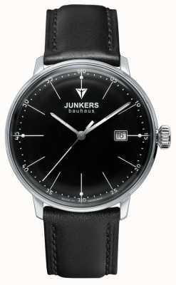 Junkers Herren bauhaus schwarzes Zifferblatt schwarzes Lederband 6070-2