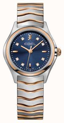 EBEL Wave Womens Diamantset zweifarbige blaue Zifferblattuhr 1216379
