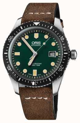 Oris Taucher fünfundsechzig automatisches braunes Lederband grünes Zifferblatt 01 733 7720 4057-07 5 21 02