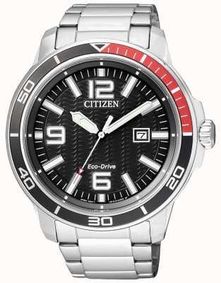 Citizen Mens eco-drive Edelstahl schwarzes Zifferblatt AW1520-51E