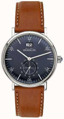 Michel Herbelin Mens Inspiration 1947 braunes Lederband blaues Zifferblatt 18247/15GO