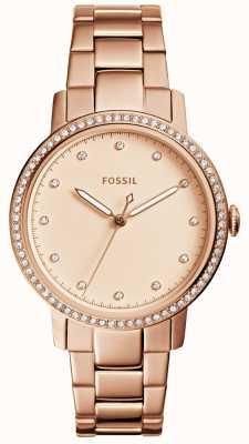 Fossil Womens neun rosafarbene Golduhr ES4288
