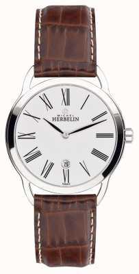 Michel Herbelin Mens equinox brown strap klassischen Zifferblatt Uhr 19577/01GO