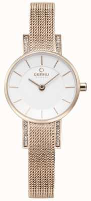 Obaku Womans lykke Rose Gold Mesh Uhr V207LEVIMV