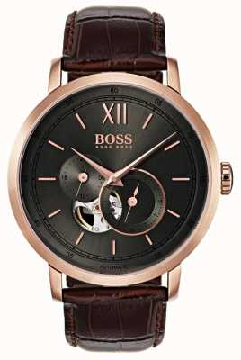 Boss Automatische braune Herren Lederuhr 1513506