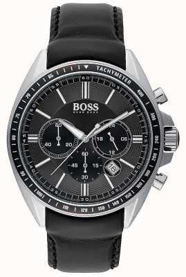Hugo Boss Herren Fahrer Sport schwarz Leder Chronograph 1513085
