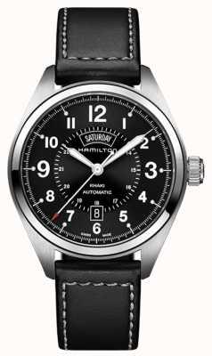 Hamilton Khaki Feld Tag-Datum Auto schwarz Leder H70505733
