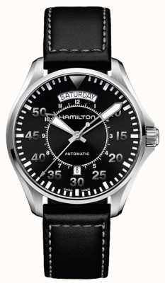 Hamilton Khaki Pilot Tag Datum Auto schwarz Leder H64615735