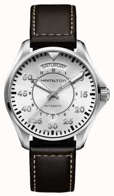Hamilton Pilot Tag Datum Auto braun Leder H64615555