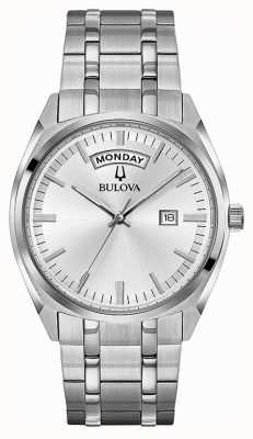 Bulova Herren klassisches Edelstahl Armband Silber Zifferblatt 96C127