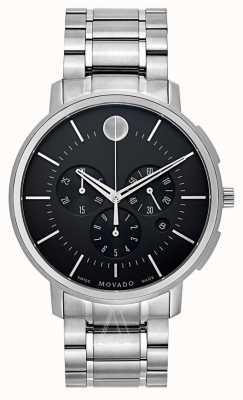 Movado Mens dünnen klassischen Chronographen schwarz 0606886