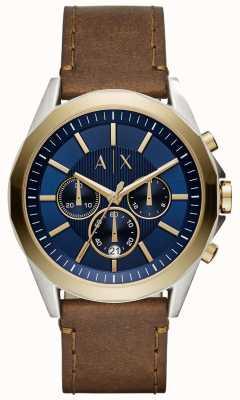 Armani Exchange Herren blauen Chronographen braunes Lederband AX2612