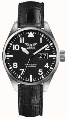 Aviator Herren airacobra p42 schwarzes Lederband schwarzes Zifferblatt V.1.22.0.148.4