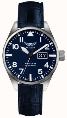 Aviator Herren airacobra p42 blaues Lederband blaues Zifferblatt V.1.22.0.149.4