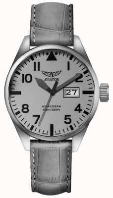 Aviator Herren airacobra p42 graues Lederband graues Zifferblatt V.1.22.0.150.4