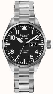 Aviator Herren airacobra p42 Edelstahl Stahl Armband schwarzes Zifferblatt V.1.22.0.148.5