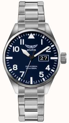 Aviator Herren airacobra p42 Edelstahl Stahl Armband blau Zifferblatt V.1.22.0.149.5
