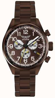 Aviator Mens airacobra p45 chrono bronze pvd armband braun zifferblatt V.2.25.8.172.5