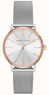 Armani Exchange Womans Edelstahl-Ineinander greifenarmband-Kleiduhr AX5537