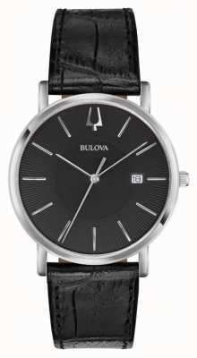 Bulova Herren klassisches schwarzes Leder 96B283