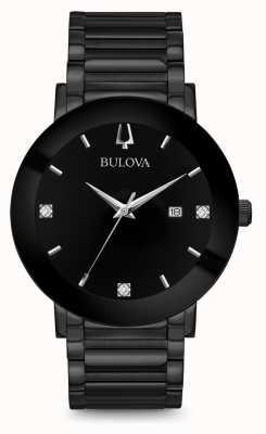Bulova Herren moderne Diamantuhr schwarz 98D144