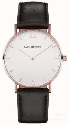 Paul Hewitt Unisex-Seemann schwarzes Lederband PH-SA-R-SM-W-2M