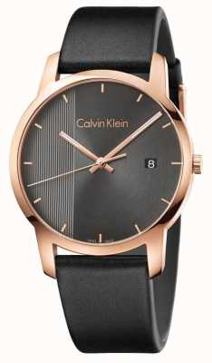Calvin Klein | Herren Stadtuhr aus schwarzem Leder | K2G2G6C3