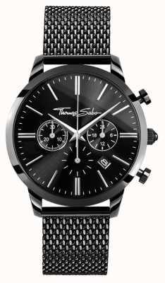 Thomas Sabo Herren schwarze Edelstahl Chrono Uhr WA0291-287-203-42