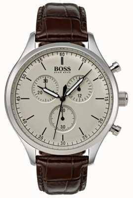 Boss Mens Begleiter Chronograph braunes Lederarmband 1513544