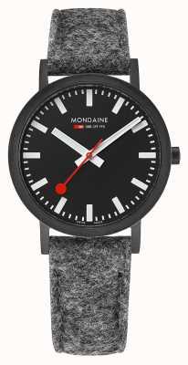 Mondaine Unisex klassisches schwarzes Zifferblatt dunkelgraues Filz-Lederband A660.30314.64SBH