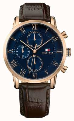 Tommy Hilfiger Kane Chronograph blaues Zifferblatt braunes Lederband 1791399
