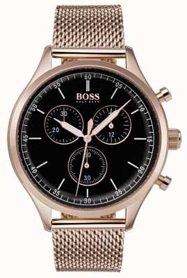 Boss Mens Begleiter Chronograph Roségold-Ton-Mesh-Armband 1513548