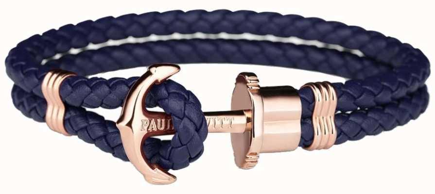 Paul Hewitt Phrep Roségold Anker Navy Leder Armband Medium PH-PH-L-R-N-M