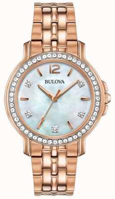 Bulova Womans roségoldfarbene Kristalluhr 98L243