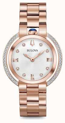 Bulova Womans Rubaiyat Roségold Ton Diamantuhr 98R248