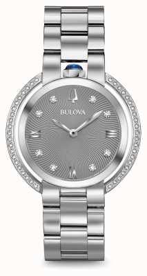 Bulova Womans rubaiyat silberfarbener Diamantuhr 96R219